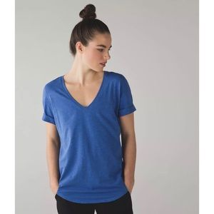 Lululemon Love Tee Heathered Sprinkler Blue V-Neck